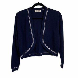 st john blue vintage open cardigan crop top